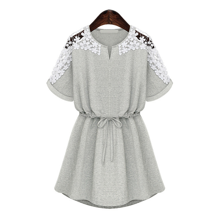 Summer style dress 2015 Fashion Women's Summer Sexy Grey White Lace Floral Casual Style Short Evening Party Mini Dress Ladies