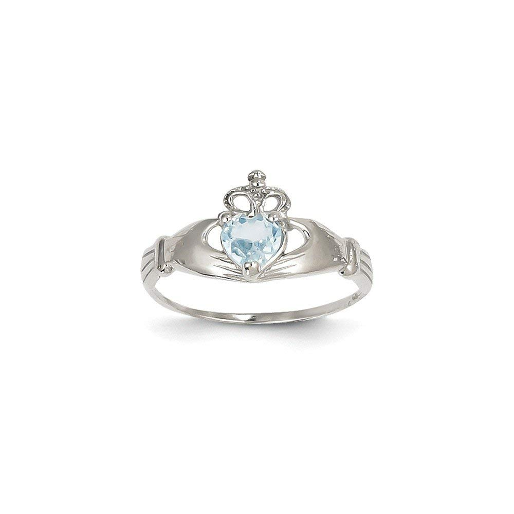 Roy Rose Jewelry 14K White Gold CZ March Birthstone Claddagh Heart Ring - Size: 6