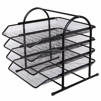 Hot Sale U0026 High Quality Black Metal 4 Tier Office File Organizer Shelf Rack  Desktop Document