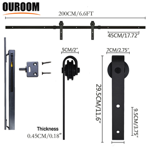 Hot Sale Soft Close Glass Wooden Sliding Barn Door Roller Rail Hardware With Strength Chinese Manufacturers