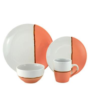 4 16 24 Pieces Two Tone Stoneware