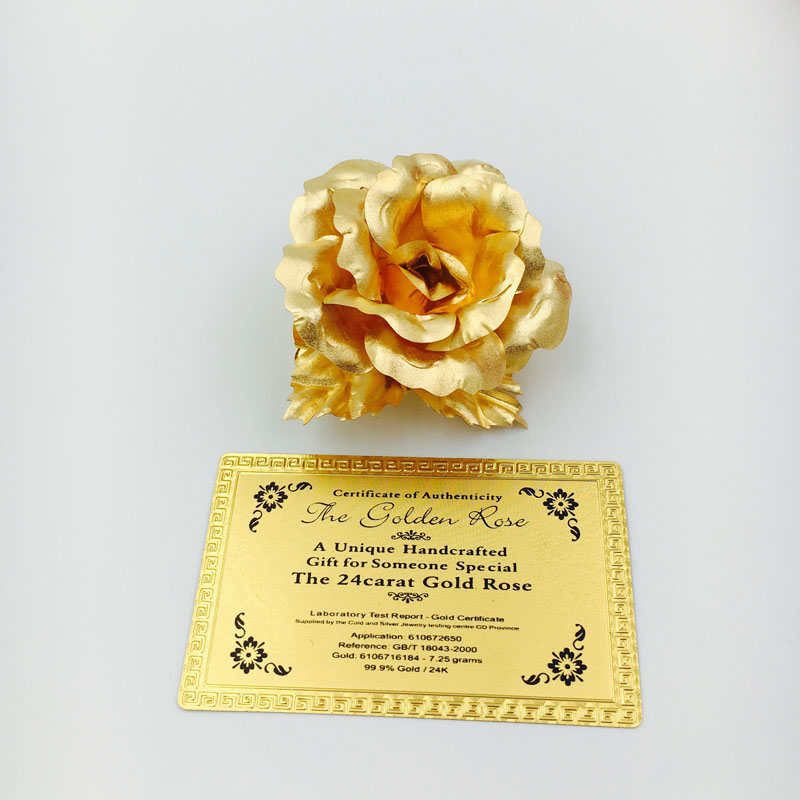 Factory Selling 6.5cm 24K Gold Foil Rose Brooch The Decorative Flower for Party and Activities
