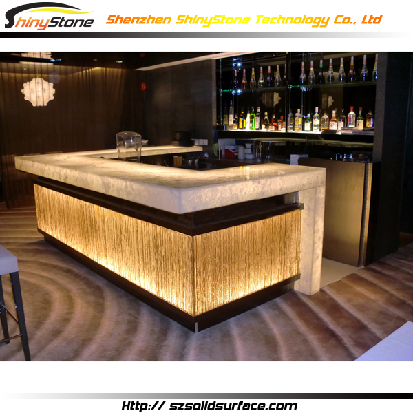 Translucent Stone Top Lighting Solid Surface Led Bar Counter Illuminated Product On Alibaba