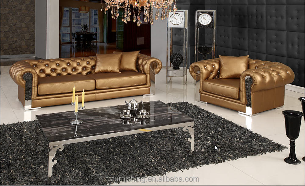 jr308 modern contemporary white gold color genuine thick leather classicial uk chesterfield. Black Bedroom Furniture Sets. Home Design Ideas