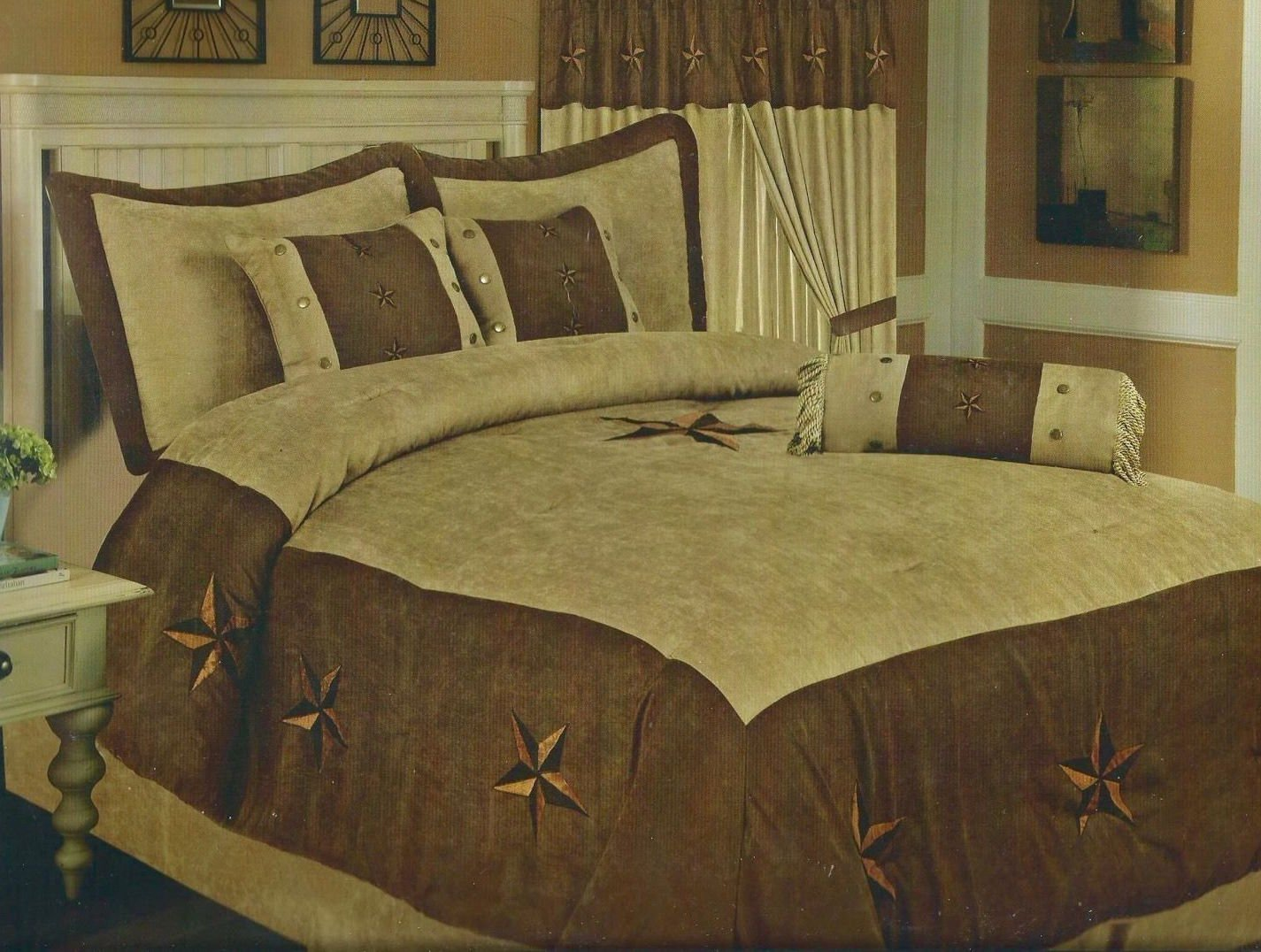 set x microsuede bedding brown home star com sets dp pieces chezmoi oversized collection comforter queen embroidery western amazon coffee design