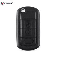 KEYYOU Vervanging Shell Folding Flip Remote Key Case Fob 3 Knop voor <span class=keywords><strong>LAND</strong></span> <span class=keywords><strong>ROVER</strong></span> Range <span class=keywords><strong>Rover</strong></span> Sport <span class=keywords><strong>LR3</strong></span> Discovery