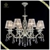 Luxury indoor lighting classic fabric light fixture hanging crystal chandelier pendant light