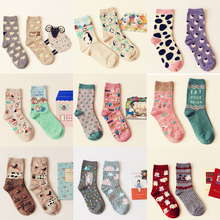 Brand Caramella Autumn Winter Character Cartoon Series Women Cotton Socks For Female Sweet Cute Long Socks 2014 New Arrival