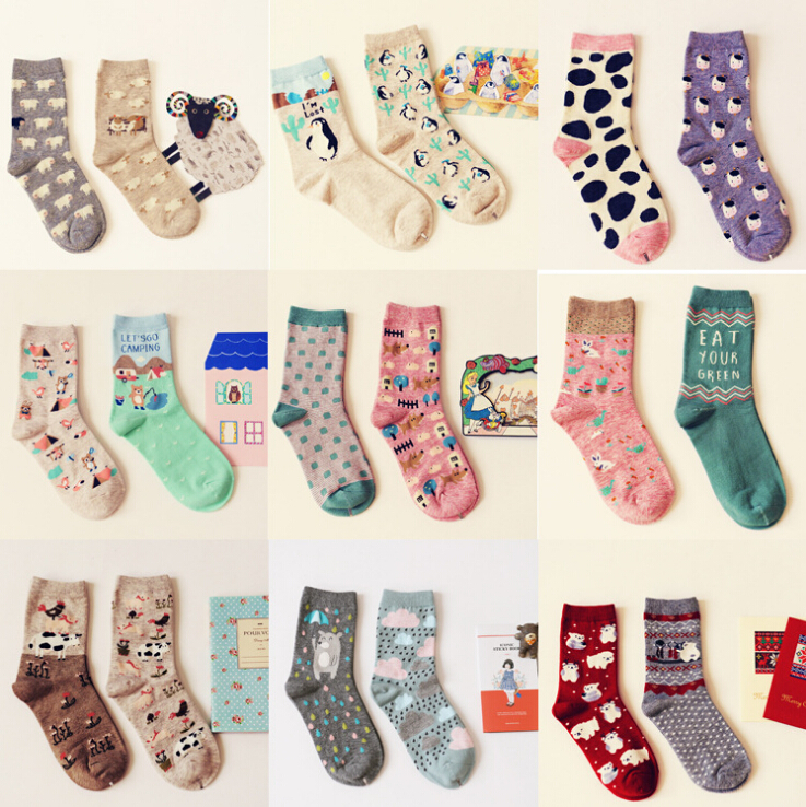 Brand Caramella Spring Autumn Character Cartoon Series Women Cotton Socks For Female Cute Animal Prints Long