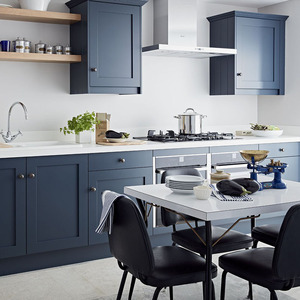 Modern Apartment Navy Blue Shaker Kitchen Cabinets From China