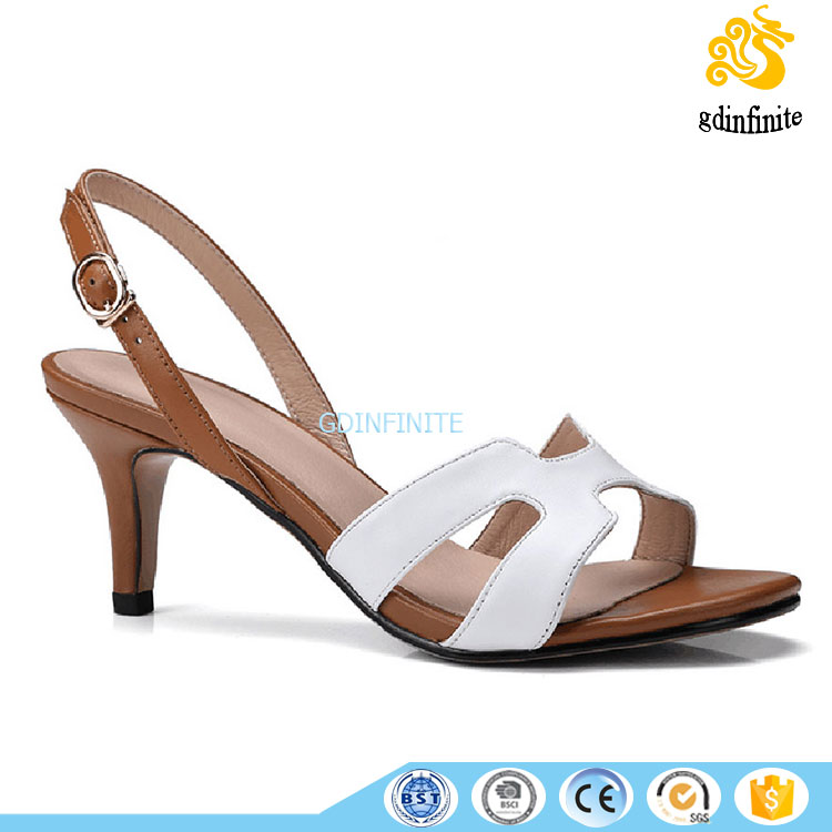 OEM Female white party daily wear lady sandals kitten heel shoes