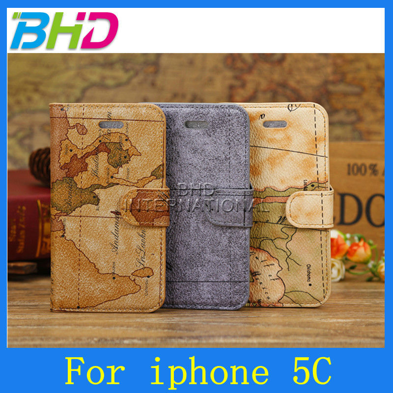 World Map stand cellphone PU leather case for Iphone 5c