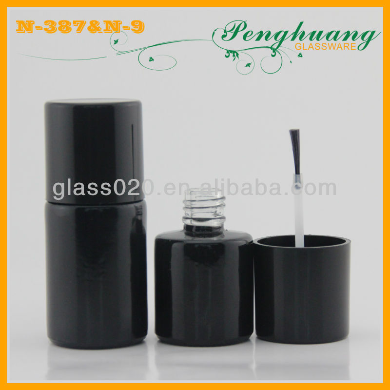 Rund black cap and glass nail polish container for promotion