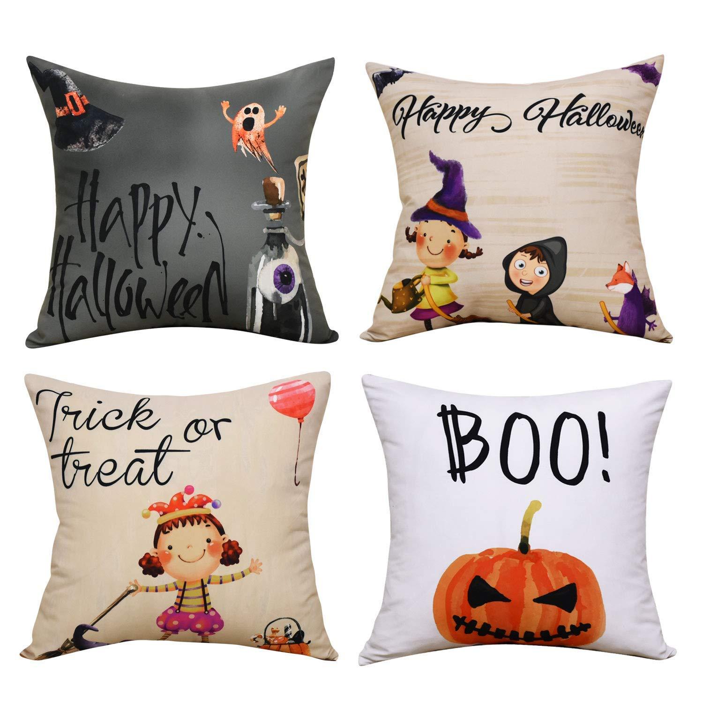 BLEUM CADE Halloween Theme Pillow Covers Halloween Boo and Pumpkin Throw Pillow Case Daily Decorations Sofa Throw Pillow Case Cushion Covers Zippered Pillowcase
