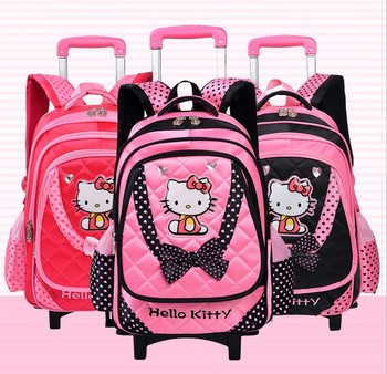 ebe5da838 Trolley School bag fashion school bag with wheels hello kitty trolley bag
