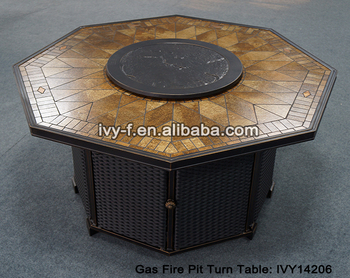Outdoor China Garden Ceremic Top Gas Fire Pit With Aluminum Frame Heater  Dining Table With The