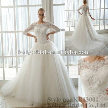 f1f07224dd64 Simple Long Sleeve Lace Ball Gown Wedding Dress - Buy Long Sleeve ...