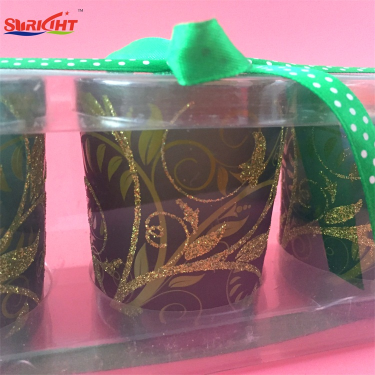 Christmas Glitter Pattern Crystal Glass Cup Ribbon Bow Candle Set