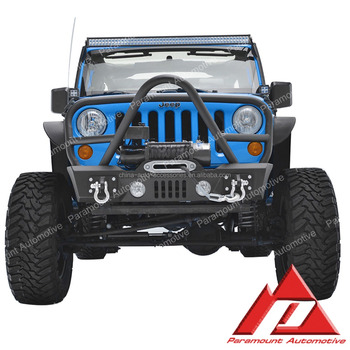 Stubby Front Bumper With Grille Guard For 07 17 Jeep Wrangler JK