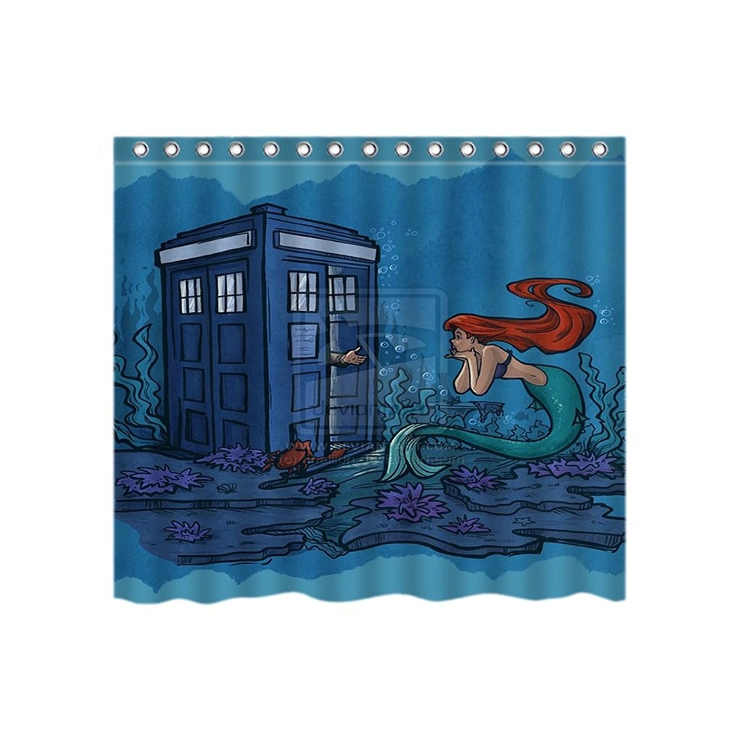 Lincoln Gore Doctor Tardis Meet Ariel Little Mermaid Custom Vogue Polyester Fabric Shower Curtain Bathroom Sets