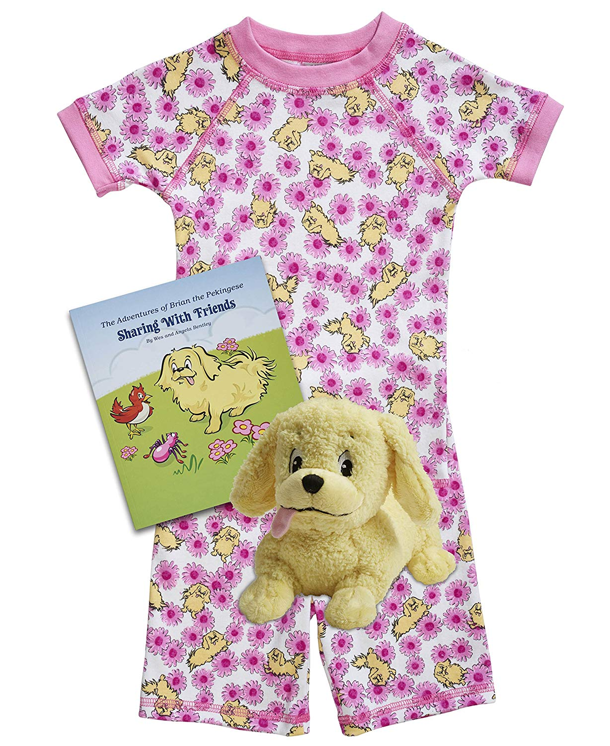 Brian the Pekingese Girls & Boys Cotton Shorts Pajamas, Plush Toy & Children's Book Bedtime Gift Set