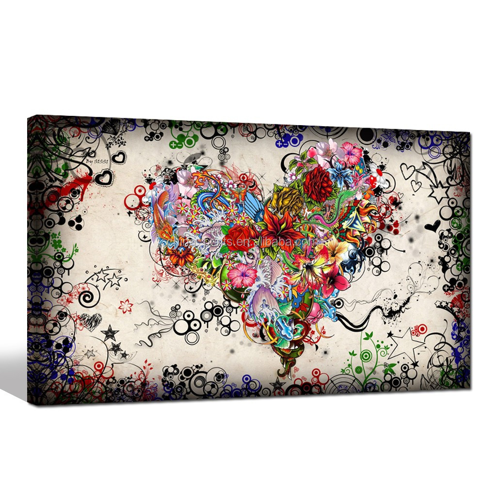 Vintage Abstract Art for Living Room/love Heart Decor Pictures/doodle Canvas Painting