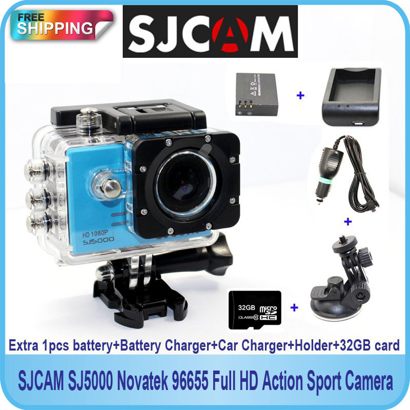 Free shipping!Original SJCAM SJ5000 Sport Action Camera+Extra 1pcs battery+Battery Charger+Car Charger+Holder for DV camera