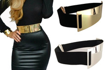 Whosale Fashion Embellished Metal Keeper Metallic Bling kim Gold Mirror Wide Obi Elastic Belt Corset 10pcs/lot