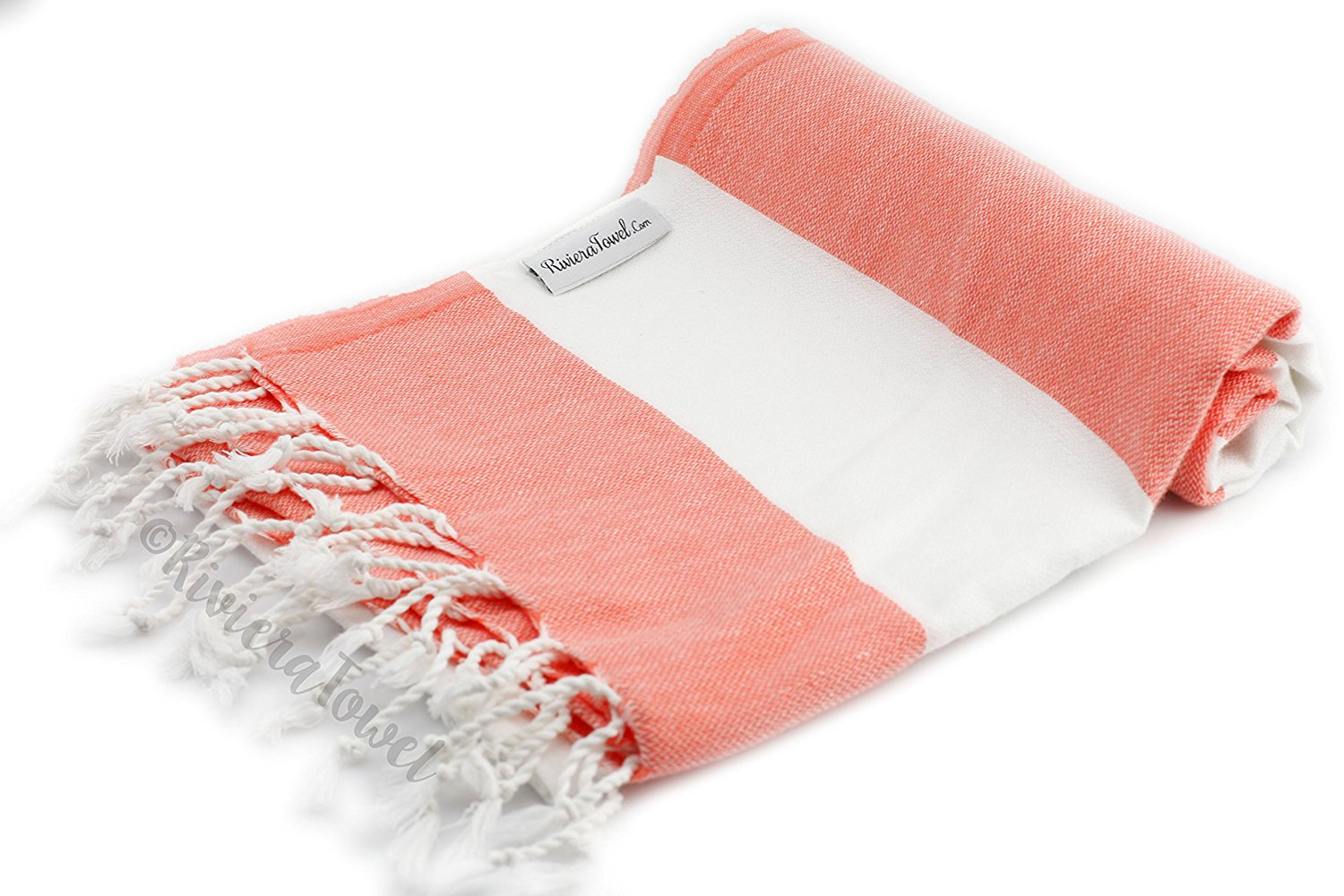 8d6cd9592d Get Quotations · Biarritz Coral Striped Turkish Towel for Bath   Beach - Swimming  Pool - Yoga Pilates -