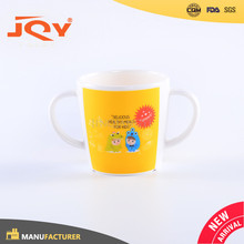 New Design personalized 100% melamine kids mug cup with two handle