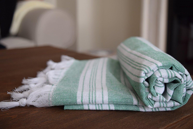 All Cotton Turkish Palace Peshtemal for Bath Spa Sauna Beach Towel 100% Cotton Extra Hammam towel Turkish Towel (Green)