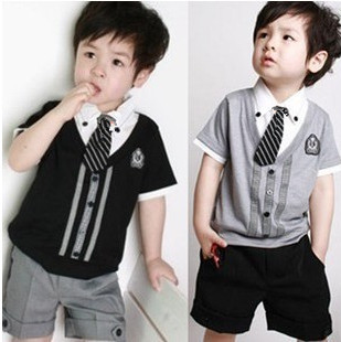 HOT children baby boys short clothes suits set kids gentleman summer shirt tshirt pants tie sets