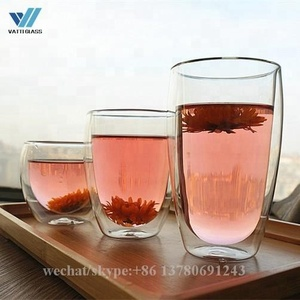Egg Shape Double Wall Glass Coffee Cup Chrysanthemum Beer Tea Mug Custom Printing Logo Glass Tumbler 80ml Cups Of Coffee