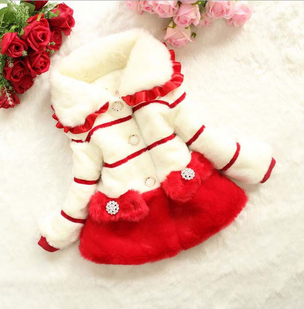 D51708J 2014 winter children girl's faux fur velour princess thicken coat