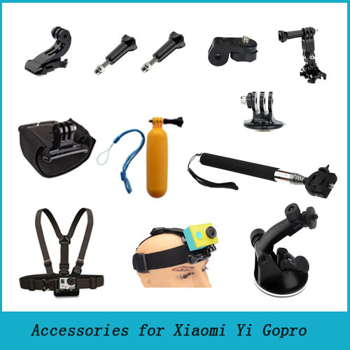 Xiaomi Yi Gopro Accessories Set Monopod Tripod Adapter Car Sucker Chest Belt