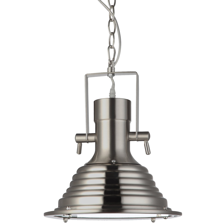 "VONN VVP21041SN Dorado Collection LED Pendant Industrial Adjustable Hanging Light with Ribbing, 11"", Satin Nickel"