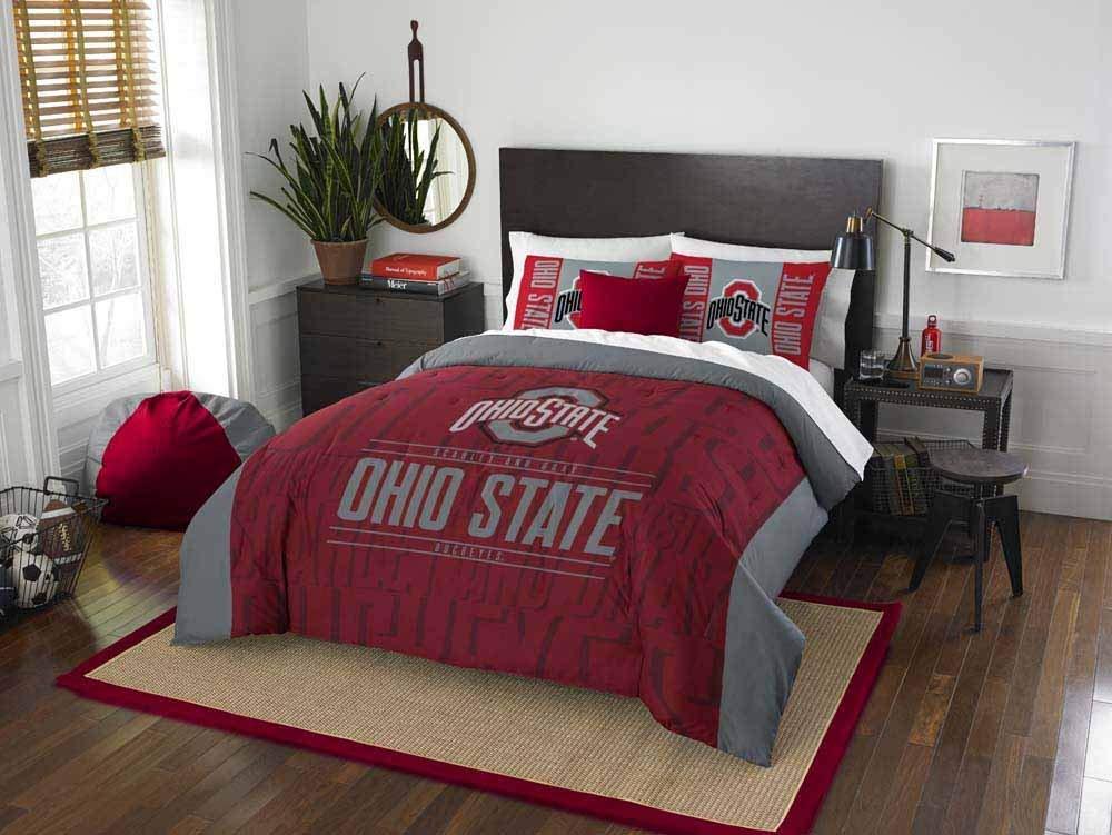 3 Piece NCAA Ohio State University Buckeyes Comforter Full Queen Set, Sports Patterned Bedding, Team Logo, Fan Merchandise, Team Spirit, College Football Themed, Red Multi, For Unisex