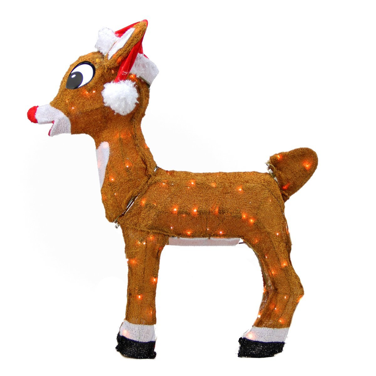 ProductWorks Pre-Lit Rudolph The Red-Nosed Reindeer in Santa Hat Christmas Yard Art Decoration with Clear Lights, 26""