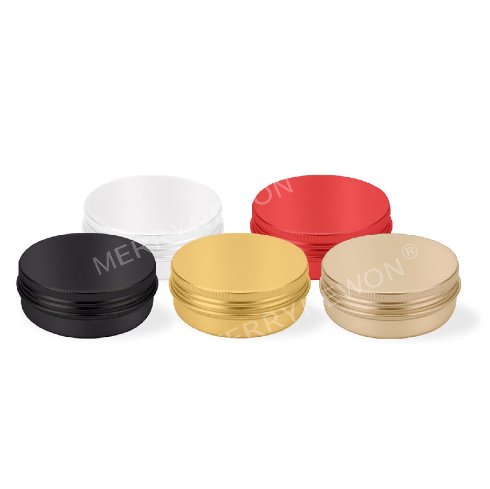 60 ml kleine blikje metalen aluminium pot met deksel container voor Hand cream jar met custom logo matte black /rood kan-60 ml 6825
