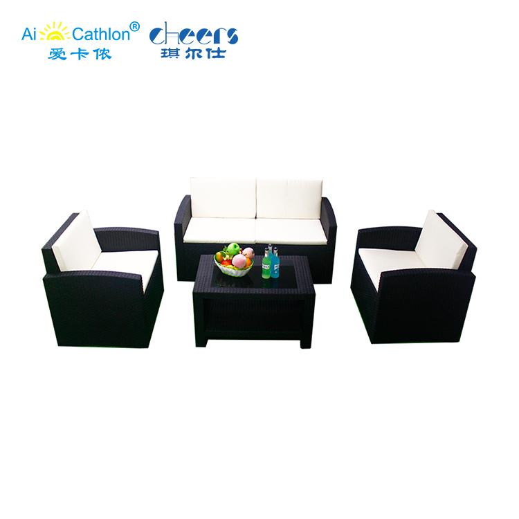 Garden Furniture Outdoor Low Price Pp Injection Wicker Plastic Rattan Sofa Set