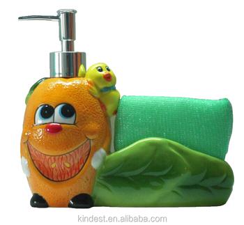 Ceramic Cartoon Soap Dispenser With Sponge Holder Kitchen Bath Ware - Buy  Soap Dispenser With Sponge Holder,Ceramic Soap Dispenser With Sponge ...