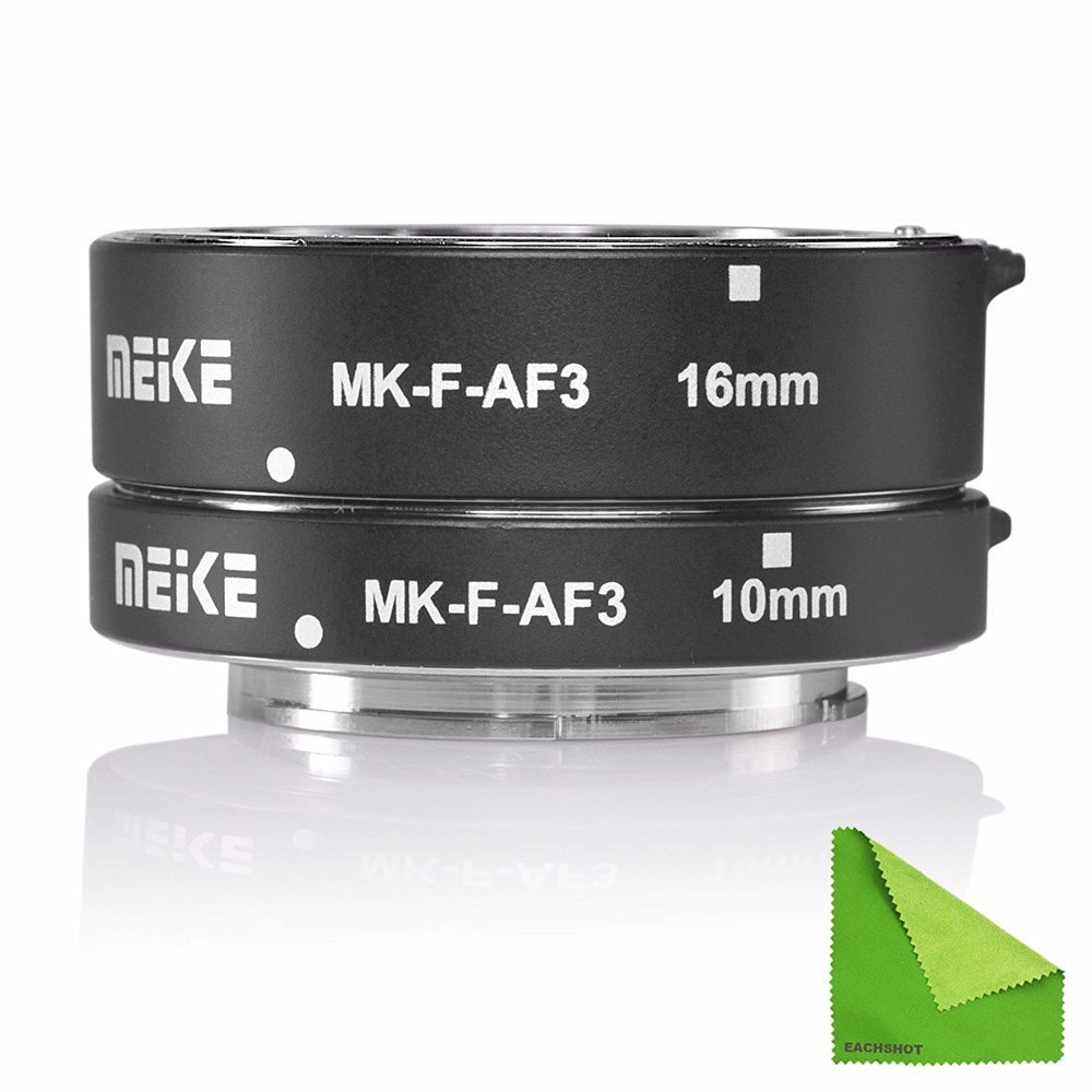 Meike MK-F-AF3 Metal Auto Focus Macro Extension Tube 10mm 16mm for FUJIFILM XPro2/XT1/XA1/XA2/XE1/XE2/XE2s/XE3/X70/XE1/X30/X70/XM1/XM10/XPro1 With EACHSHOT Cleaning Cloth