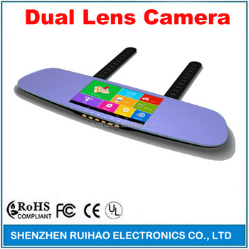 "Full HD 1080P 5"" Touch Dual camera Android GPS Navigation Wifi FM Parking Car DVR Rearview Mirror Recorder"