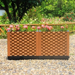 Outdoor chocolate color plastic vertical planting grow box for home garden