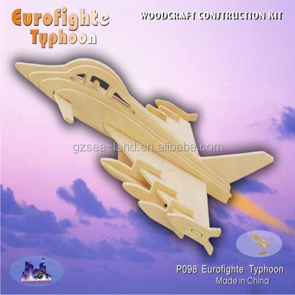 Children Baby Kid Wooden 3D Puzzle Eurofighter Typhoon Jigsaw Early Education Toys
