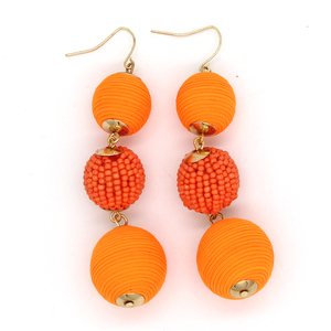 Colorful Fashion Thread Wax String Cord Hoop Three Ball Beads Earrings