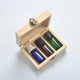 small wooden packing box square mini wood container 3 grid 10ml essential oil bottle storage cheap small wooden box