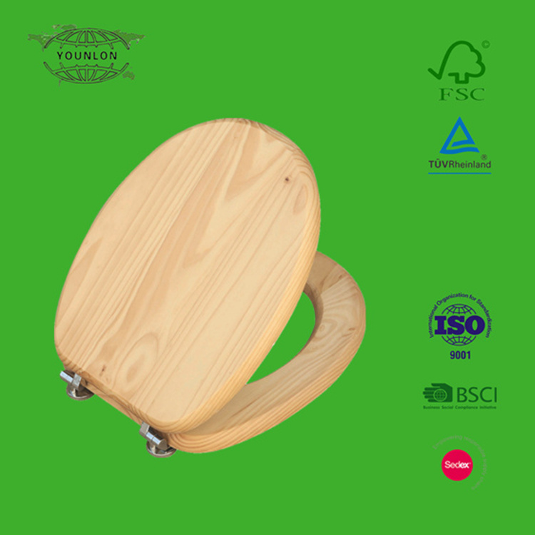 1201 pine solid wood natural color toilet seat