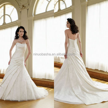 Vogue 2014 Satin Ball Gown Wedding Dress With Strapless Neckline ...