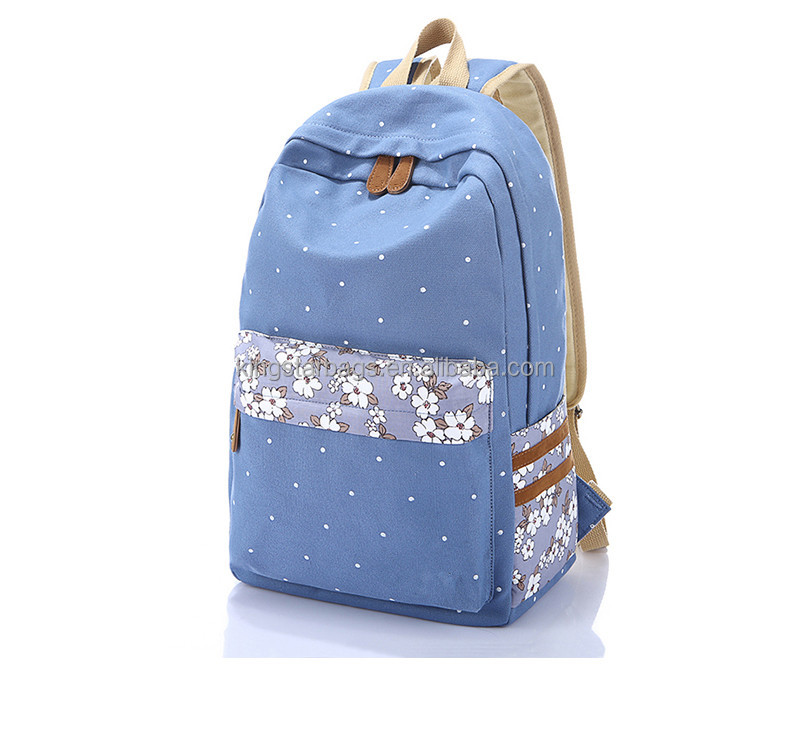 Fancy Blue 8A Canvas backpack with white polka dot durable OEM factory